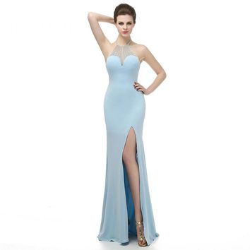 Sexy Mermaid Halter Backless Long Prom Dresses Fashion High Slit Beading Floor Length Prom Dress