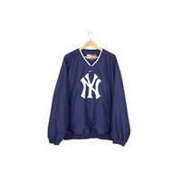 NIKE YANKEES pullover windbreaker jacket / new york baseball / ny logo / mlb gear / unisex adult / mens xl - xxl