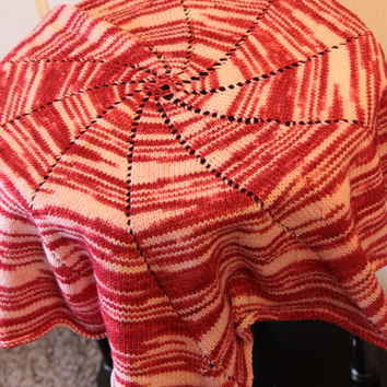 Pinwheel Baby Blanket / Knitted Circle Blanket / Red and White Baby Blanket / Ready to Ship!