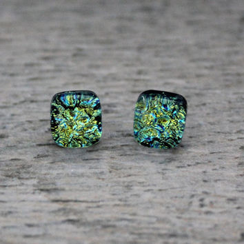 Sparkly Green Fused Dichroic Glass Studs , Dichroic Jewelry , Dichroic Earrings , Fused Glass Earrings , Dichroic Studs , Green Earrings