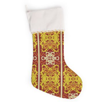 "Mydeas ""Butterfly Dog Damask"" Yellow Red Christmas Stocking"