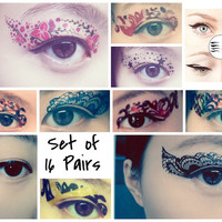 Set of 16 Pairs Temporary Tattoo Transfer Stickers for Eyes Eyelids Flower Laced for Clubbing Party