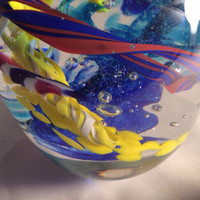 Hand Blown Glass Art Paperweight.  Multicolor Glass Paperweight. Blown Glass Paperweight.
