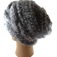 Slouchy Oversized Hat - Cable Hat in Grey - Chunky Knit Hat - Hand Knit Hat - Dreadlock hat