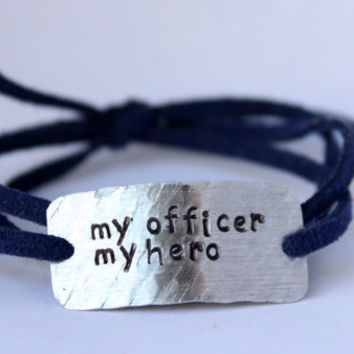 "police wife bracelet, firefighter wife bracelet, ""my hero"" police jewelry, police girlfriend, military wife, wrap bracelet, handstamped"