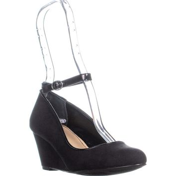 SC35 Romie Ankle Strap Wedge Heels, Black, 7 US