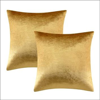 2 Packs Gold Shiny Velvet Decorative Throw Pillow