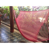 Pink Mayan Double Hammock Indoor/Outdoor Cotton Hammock - Mission Hammocks