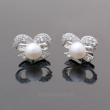 Elegant Shinning Butterfly Bowknot Pearl Crystal Rhinestone Ear Stud Bow Earrings Women Girls = 1958175364