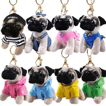 Fashion key chain Plush pendant Lovely dog Star toys A gift for a friend The girls The street decoration A birthday present Pug