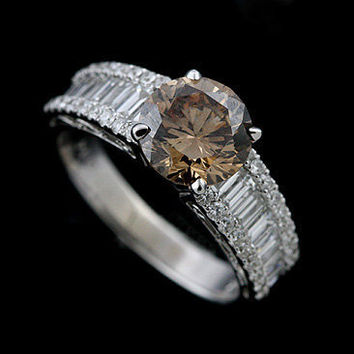 18K White Gold Fancy Brown Diamond Engagement Ring