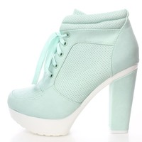 Mint Green Lace Up Sneaker Booties Faux Leather