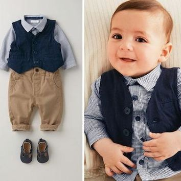 Trendy 3pieces set autumn 2015 children's leisure clothing sets kids baby boy suit vest gentleman clothes for weddings formal clothing AT_94_13