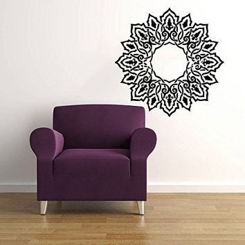 Mandala Wall Decal Namaste Indian Lotus Flower Yoga Ornament Geometric Moroccan Pattern Wall Vinyl Decals Sticker Home Decor Mural Design Graphic Bedroom (6062)
