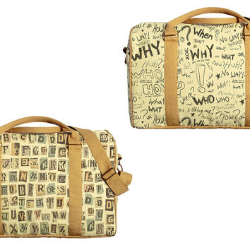 Typography Pattern Printed Oversized Canvas Duffle Luggage Travel Bag WAS_42