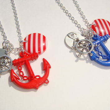 Best Friends Anchor Pinky Promise Necklaces - Set of Necklaces - Friendship Gift - Friends Jewellery - Nautical Jewelry - Pinkie Promise