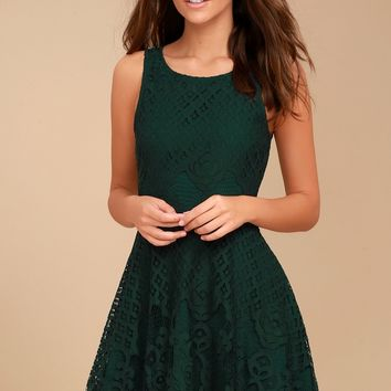 Black Swan Desirae Forest Green Lace Skater Dress