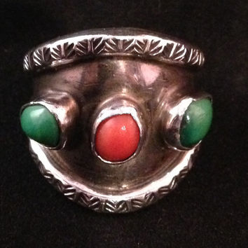 Navajo Silver Ring with Genuine Turquoise and Coral