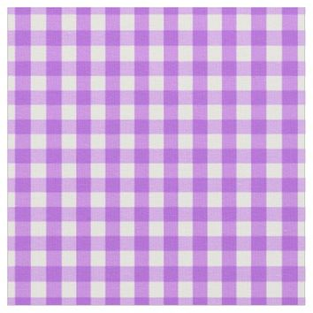 Classic Purple White Gingham Check Pattern Fabric