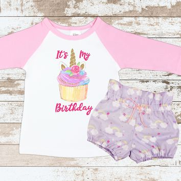 Cupcake Unicorn Birthday Outfit | Purple Rainbow High Waisted Bloomers Outfit with Cupcake Unicorn 3/4 Sleeve Pink Raglan Shirt
