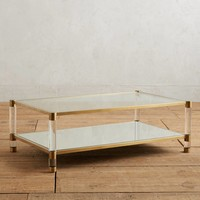 Oscarine Lucite Mirrored Coffee Table, Rectangle