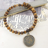 Brown Tibetan Agate Semi Precious Gemstone Bangle Bracelet with Rustic Tribal Wheel Dangle Charm Memory Wire Jewelry