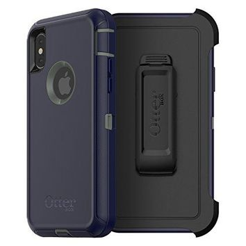 OtterBox DEFENDER SERIES Case for iPhone X (ONLY) - Retail Packaging - STORMY PEAKS (AGAVE GREEN/MARITIME BLUE)