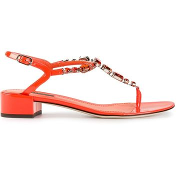 Dolce & Gabbana T-Bar Jewelled Sandal