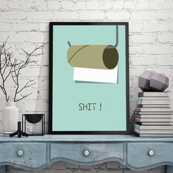Shit Canvas Painting Modern Cool Letter Wall Art Painting Canvas Poster Prints Wall Pictures Bathroom Home Decor HD2309
