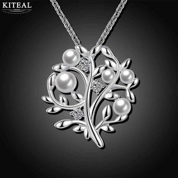 New Fashion jewelry silver women necklace pendant Tree of life Imitation pearl colares love for elegant lady 925 stamp