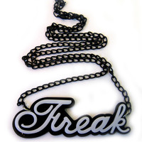Evil Freak Pendant Black & White | Gothic Clothing | Emo clothing | Alternative clothing | Punk clothing - Chaotic Clothing