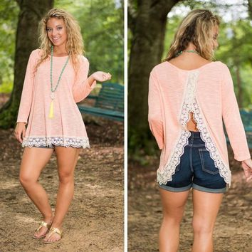 Pink Lace Split-Back Long-Sleeve Shirt