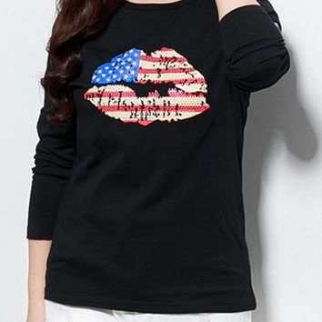 Streetstyle  Casual Lip National Flag Printed Round Neck Plus Size T-Shirt