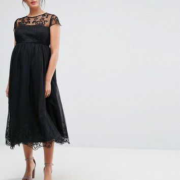 Chi Chi London Maternity Premium Lace Midi Prom Dress with Lace Neck at asos.com