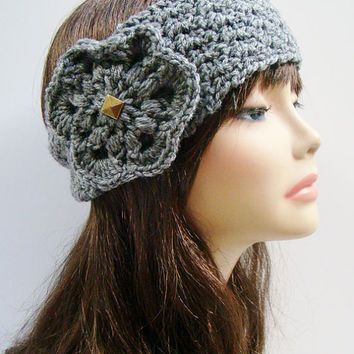 FREE SHIPPING - CUSTOM Crochet Ear Warmer Headband with Flower and Button - Heather Gray, Charcoal, Off-White, Black, Brown, Tan, Maroon