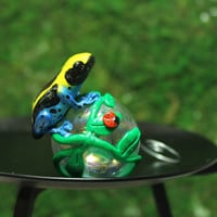 Brazilian yellow head Poison Dart Frog Mini Christmas ornament