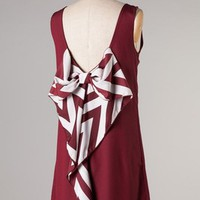 Stripe Bow Tail-Gating Dress