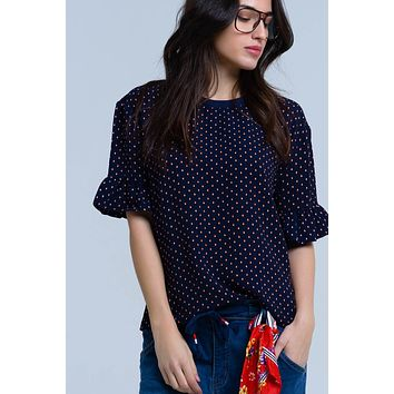 Navy top with polka dot in white