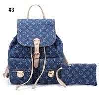 LV hot men and women jeans printed backpack shoulder bag