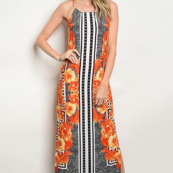 Floral And Geometric Maxi Dress