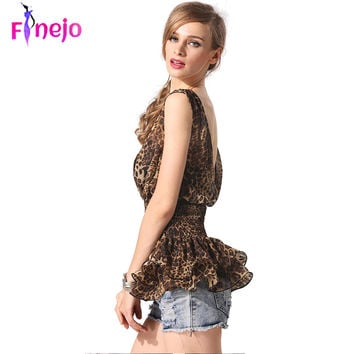2016 summer fashionTall waist thin vest tops Slim V-neck V-back Leopard Chiffon Tops