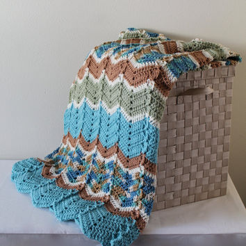 Afghan - Ripple Crochet Blanket - Teal Throw - Beach Toned Multi