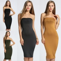 2017 Plus Party Clothes Cocktail Women'S Size Slim Tube Dresses Women Clothing Strapless Long Bandeau Bodycon Beach Dress
