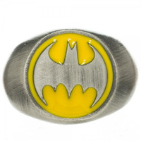 Batman Logo Brushed Nickel Ring