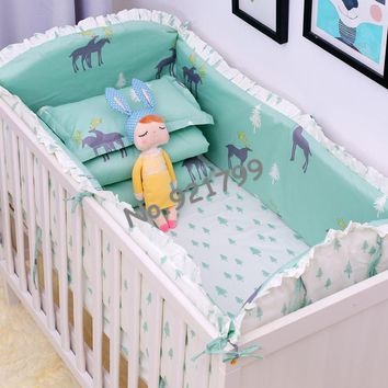 Baby Bedding Cute Cartoon Cotton Baby Bumper Bed Crib Bumper For Baby Crib Protector Of Baby Cribs For Newborns Bedding Bumpers 4 Pcs /set High Quality Goods Bumpers