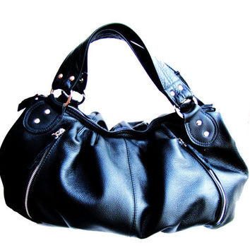 Black leather bag, purse, tote, stylish women bag, pleated bag - Doctor black