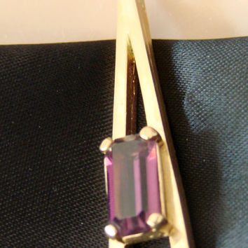 20% SALE Vintage Avon Faceted Amethyst Glass Pendant / Goldtone / Designer Signed / Jewelry / Jewellery