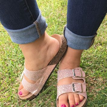 Don't Dull My Sparkle Rose Gold Sandal