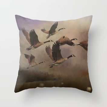 Wild Geese at Dawn Throw Pillow by Theresa Campbell D'August Art