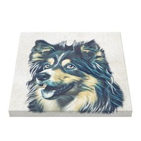 Shetland Sheepdog Painting Wrapped Canvas